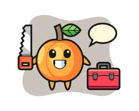 Illustration of apricot character as a woodworker, cute style design for t shirt, sticker, logo element