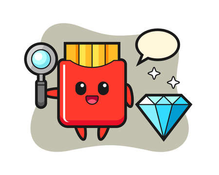 Illustration of french fries character with a diamond, cute style design for t shirt, sticker, logo element Illusztráció