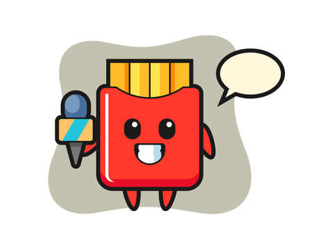 Character mascot of french fries as a news reporter, cute style design for t shirt, sticker, logo element
