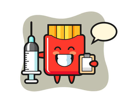 Mascot illustration of french fries as a doctor, cute style design for t shirt, sticker, logo element