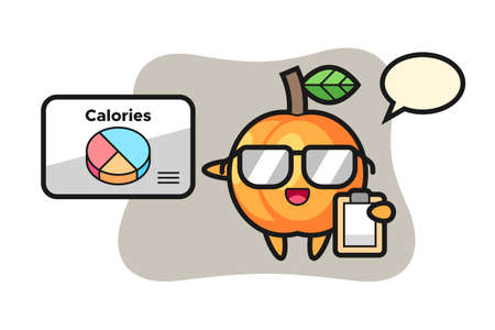 Illustration of apricot mascot as a dietitian, cute style design for t shirt, sticker, logo element