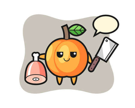 Illustration of apricot character as a butcher, cute style design for t shirt, sticker, logo element