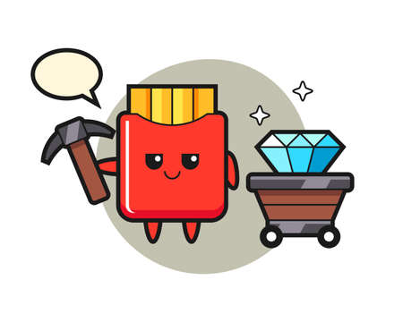 Character illustration of french fries as a miner, cute style design for t shirt, sticker, logo element 向量圖像