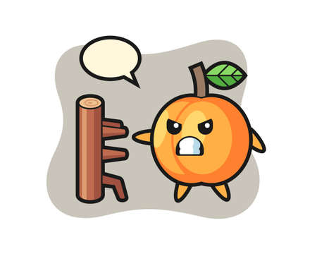 Apricot cartoon illustration as a karate fighter, cute style design for t shirt, sticker, logo element