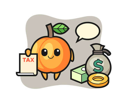 Character cartoon of apricot as a accountant, cute style design for t shirt, sticker, logo element 向量圖像