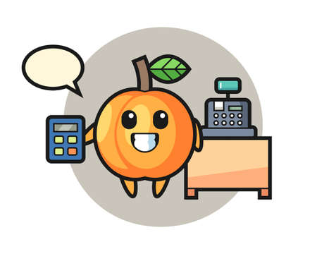 Illustration of apricot character as a cashier, cute style design for t shirt, sticker, logo element