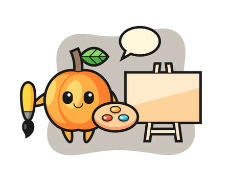 Illustration of apricot mascot as a painter, cute style design for t shirt, sticker, logo element