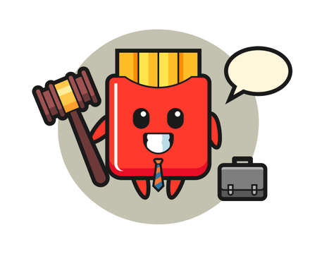 Illustration of french fries mascot as a lawyer, cute style design for t shirt, sticker, logo element 向量圖像