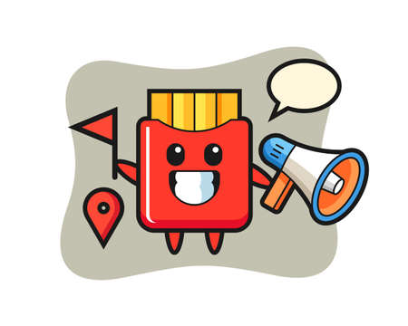 Character cartoon of french fries as a tour guide, cute style design for t shirt, sticker, logo element