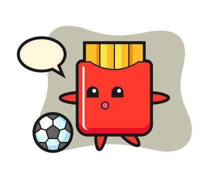 Illustration of french fries cartoon is playing soccer, cute style design for t shirt, sticker, logo element 向量圖像