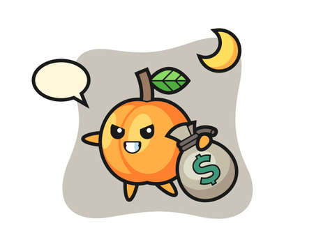 Illustration of apricot cartoon is stolen the money, cute style design for t shirt, sticker, logo element