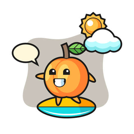Illustration of apricot cartoon do surfing on the beach, cute style design for t shirt, sticker, logo element