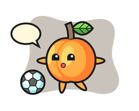 Illustration of apricot cartoon is playing soccer, cute style design for t shirt, sticker, logo element