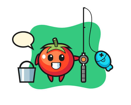 Mascot character of tomatoes as a fisherman, cute style design for t shirt, sticker, logo element Logo