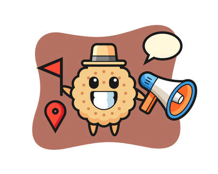 Character Cartoon Of Round Biscuits as a tour guide, cute style design for t shirt, sticker, logo element