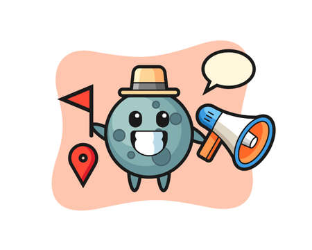 Character cartoon of asteroid as a tour guide, cute style design for t shirt, sticker, logo element