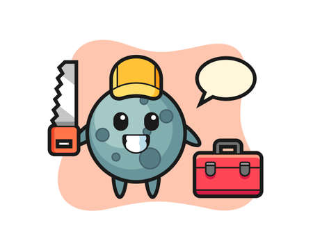 Illustration of asteroid character as a woodworker, cute style design for t shirt, sticker, logo element