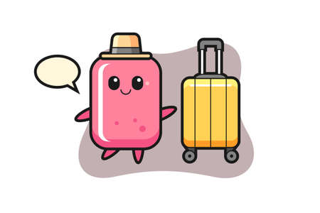 Bubble gum cartoon illustration with luggage on vacation, cute style design for t shirt, sticker, logo element