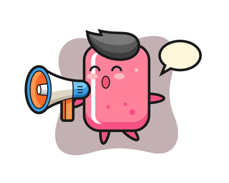 Bubble gum character illustration holding a megaphone, cute style design for t shirt, sticker, logo element