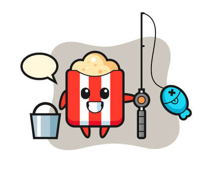 Mascot character of popcorn as a fisherman, cute style design for t shirt, sticker, logo element