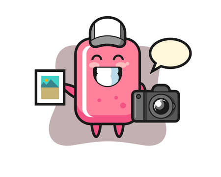 Character illustration of bubble gum as a photographer, cute style design for t shirt, sticker, logo element