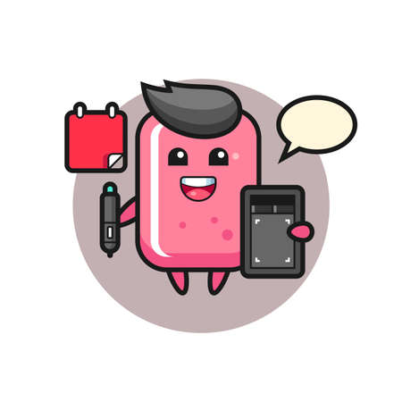 Illustration of bubble gum mascot as a graphic designer, cute style design for t shirt, sticker, logo element