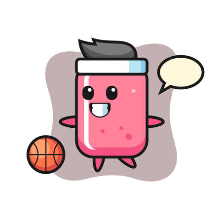 Illustration of bubble gum cartoon is playing basketball, cute style design for t shirt, sticker, logo element