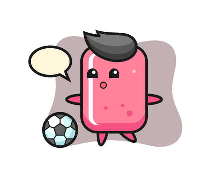 Illustration of bubble gum cartoon is playing soccer, cute style design for t shirt, sticker, logo element