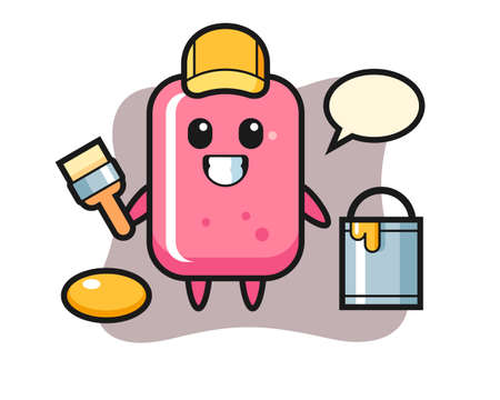 Character illustration of bubble gum as a painter, cute style design for t shirt, sticker, logo element