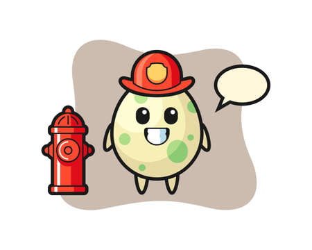 Mascot character of spotted egg as a firefighter, cute style design for t shirt, sticker, logo element