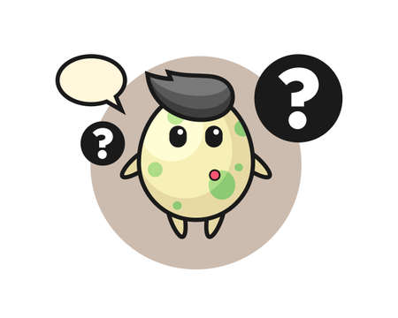 Cartoon illustration of spotted egg with the question mark, cute style design for t shirt, sticker, logo element