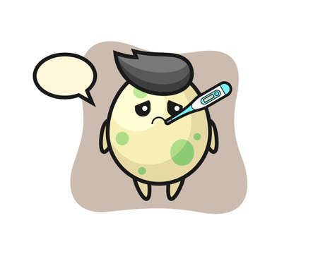 Spotted egg mascot character with fever condition, cute style design for t shirt, sticker, logo element