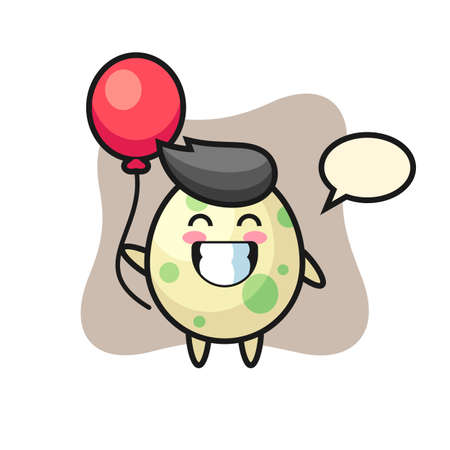 Spotted egg mascot illustration is playing balloon, cute style design for t shirt, sticker, logo element