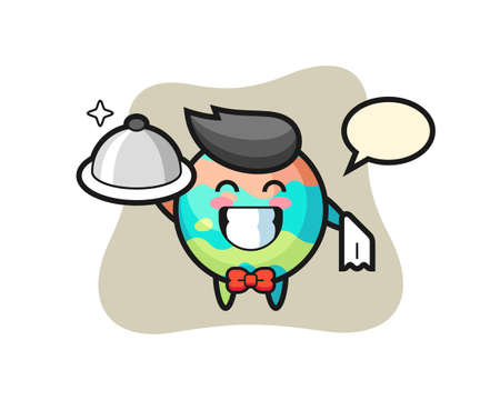 Character mascot of bath bomb as a waiters, cute style design for t shirt, sticker, logo element Logos