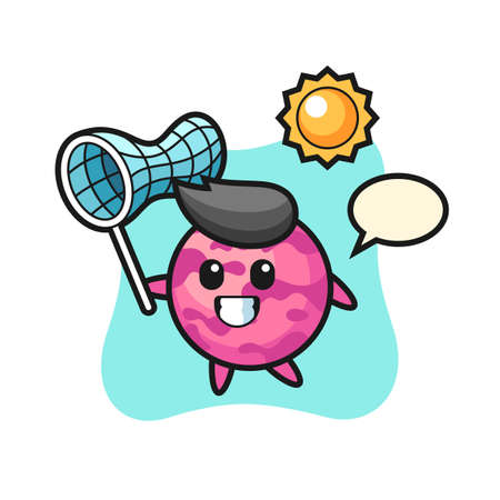 ice cream scoop mascot illustration is catching butterfly, cute style design for t shirt, sticker, logo element