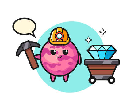 Character Illustration of ice cream scoop as a miner, cute style design for t shirt, sticker, logo element
