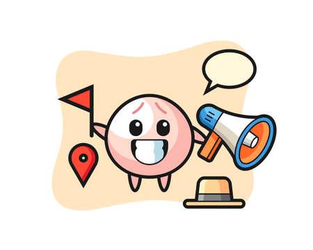 Character cartoon of meat bun as a tour guide, cute style design for t shirt, sticker, logo element Logó