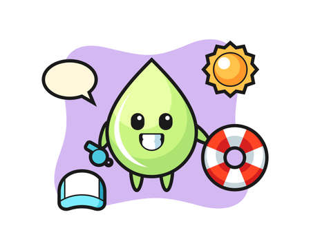 Cartoon mascot of melon juice drop as a beach guard, cute style design for t shirt, sticker, logo element