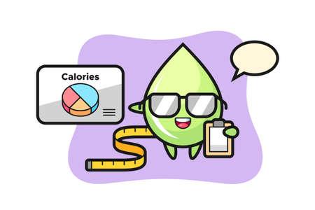 Illustration of melon juice drop mascot as a dietitian, cute style design for t shirt, sticker, logo element