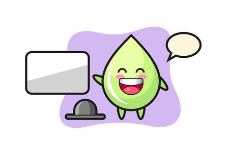 melon juice drop cartoon illustration doing a presentation, cute style design for t shirt, sticker, logo element