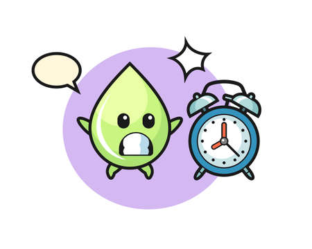 Cartoon Illustration of melon juice drop is surprised with a giant alarm clock, cute style design for t shirt, sticker, logo element