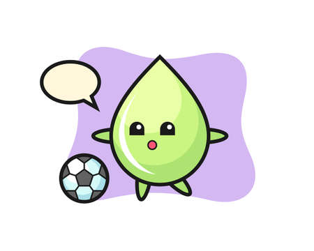 Illustration of melon juice drop cartoon is playing soccer, cute style design for t shirt, sticker, logo element