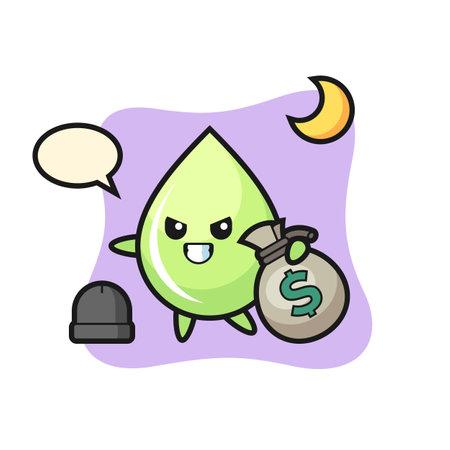 Illustration of melon juice drop cartoon is stolen the money, cute style design for t shirt, sticker, logo element Logo