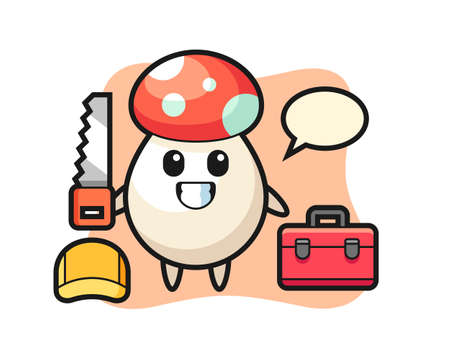 Illustration of mushroom character as a woodworker, cute style design for t shirt, sticker, logo element
