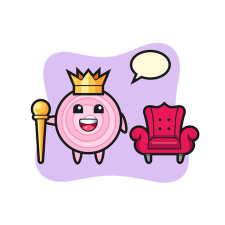 Mascot cartoon of onion rings as a king, cute style design for t shirt, sticker, logo element