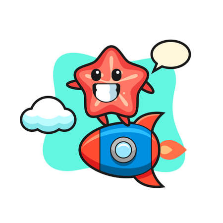 starfish mascot character riding a rocket, cute style design for t shirt, sticker, logo element