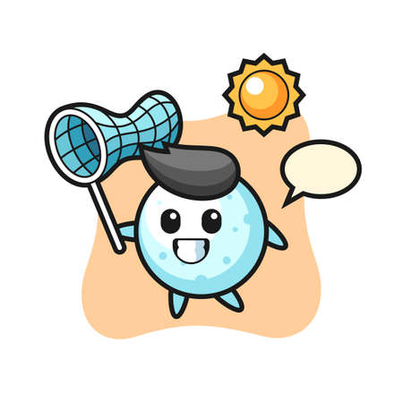 snow ball mascot illustration is catching butterfly, cute style design for t shirt, sticker, logo element Logo