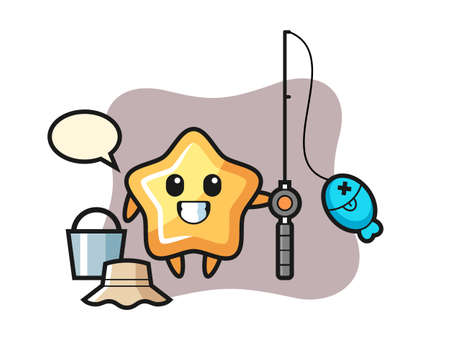 Mascot character of star as a fisherman, cute style design for t shirt, sticker, logo element