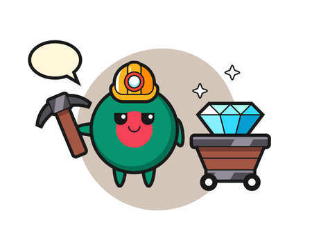 Character Illustration of bangladesh flag badge as a miner , cute style design for t shirt, sticker, logo element