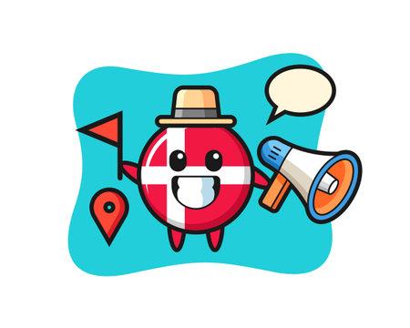 Character cartoon of denmark flag badge as a tour guide, cute style design for t shirt, sticker, logo element Logó